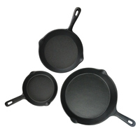 Best Heavy-duty Professional Pre-seasoned Round Cookware Set Iron Frying Pan Simple 3-piece Set Cast