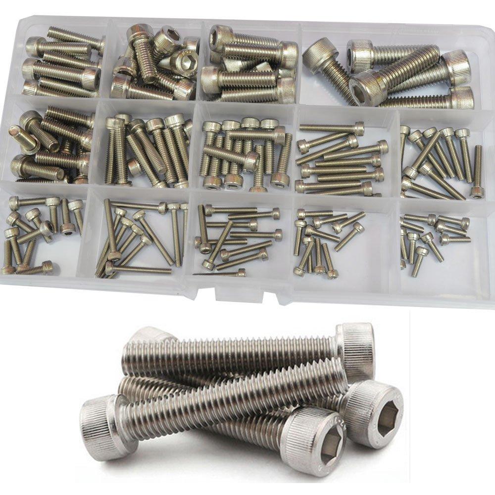 Socket Cap Screw Metric Hex Allen Head Bolt Assortment Kit 210Pcs,304Stainless Steel M3