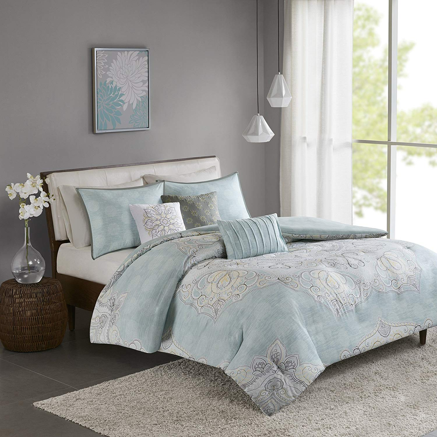 7 Piece King/ Cal King , Graceful Classic Floral Pattern Duvet Cover Set, Contemporary Modern Animal Print Design, Mid-Century Nature Themed, Global Ruffled Bedding, Adorable Aqua, Grey Color Unisex