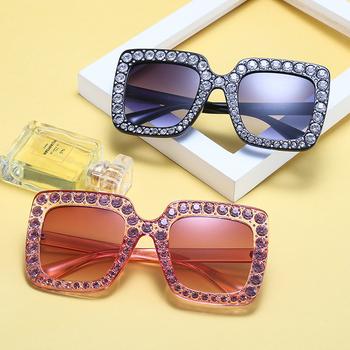 2d87988471    2018 Summer Style Women Square Vintage Bling Rhinestone Sunglasses for  Women Oversize Sun