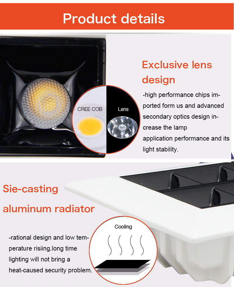 product-Hot sale indoor recessed aluminum led grille light downlight fittings 6 inch recessed led do-2