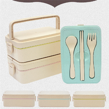 2017 Hot selling Square double lunch box crisper combination box lunch box cutlery set