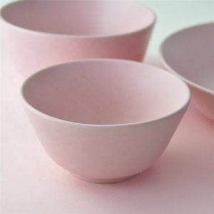 Houseware dinnerware high quality solid color matt pink porcelain bowl for sale