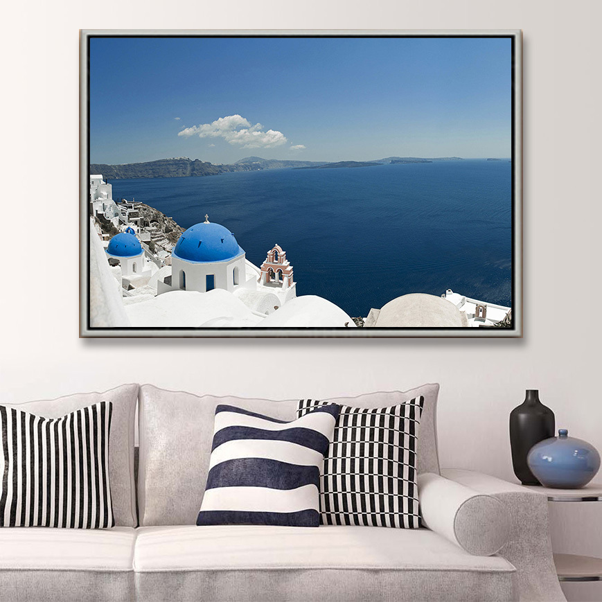 Free shipping modern oil painting for home deco wall hanging art Santorini Island painting living room Decorative canvas prints