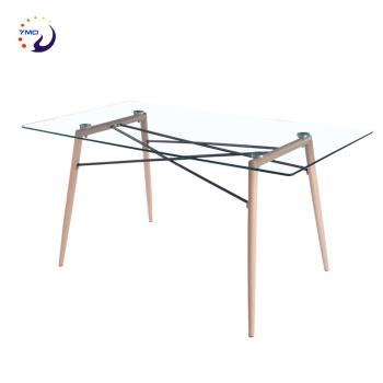 Modern Restaurant dinning furniture luxury transfer legs tempered glass dining table