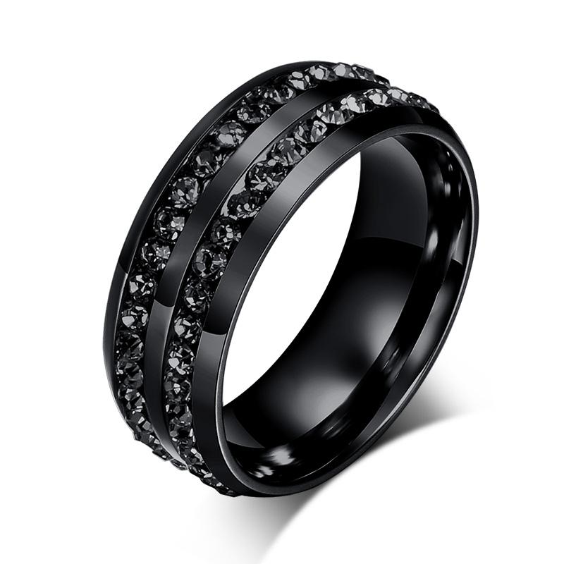 New Fashion Men Rings Black Crystyal Rings Stainless Steel ...