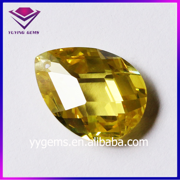 Yellow Pear Shape Double Checker Board Cubic Zirconia Stone Korean CZ Jewelry