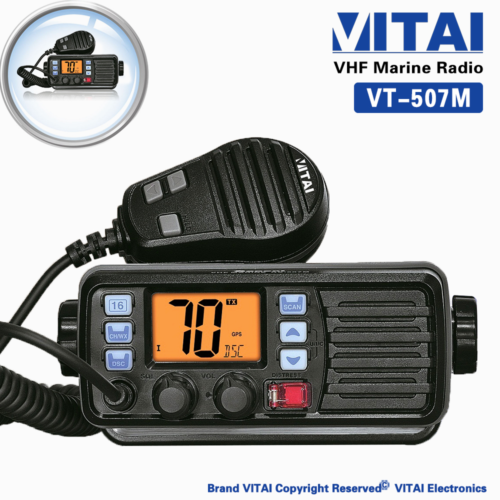 CHINA SUPPLIER VITAI VT-507M Built-In DSC Aqua quake Draining Function VHF 156-163MHz IP-X7 Marine Two Way Radio Transmitter