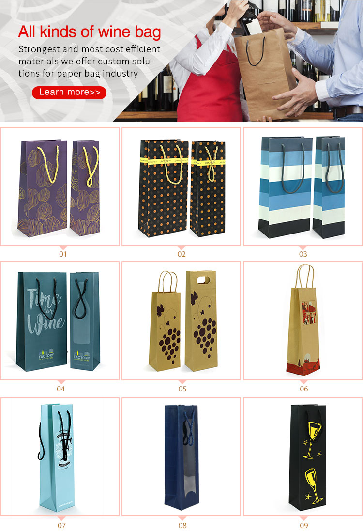 SKL-16 cheap recycle brown kraft paper wine bag with window China factory