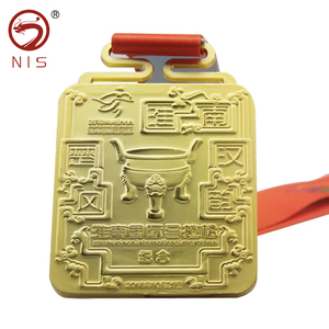 Maratho sport metal medal trophy cup with brass medallion medals triathlon