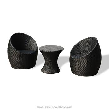 Rattan Egg Shaped Patio Furniture Bistro Set
