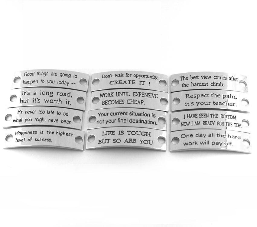 Custom Braided Engraved Stainless Steel Diy Logo Plate Charm Strap ...