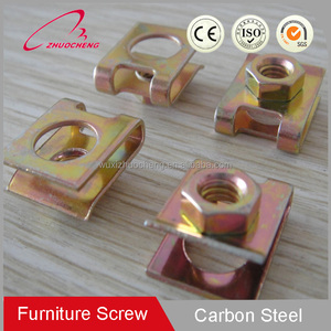 Customized Yellow zinc plated carbon steel auto spring clip speed M6 M8 u cage nut for furniture