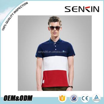 New Design Fashion Three Color Combation Men Polo Shirt Custom Stripe