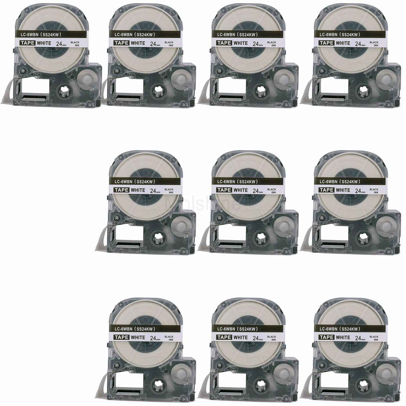 Molshine 10 Pack LC-6WBN9 LK-4PBK5(SS24KW) Compatible Label Tape for EPSON Black on White (1/1 24mm) 8m