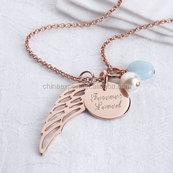 Angle Wing Letter Charm Disc Dangle Necklace