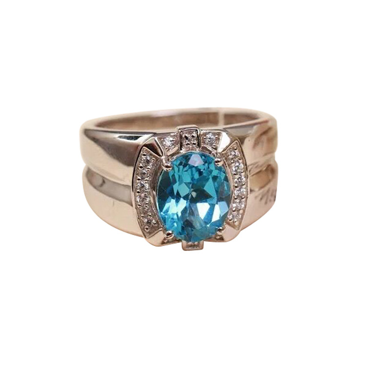 925 silver ring man gold plat natural gemstone fine jewelry 2018new fashion trendy wedding engagement adjustable blue topaz ring