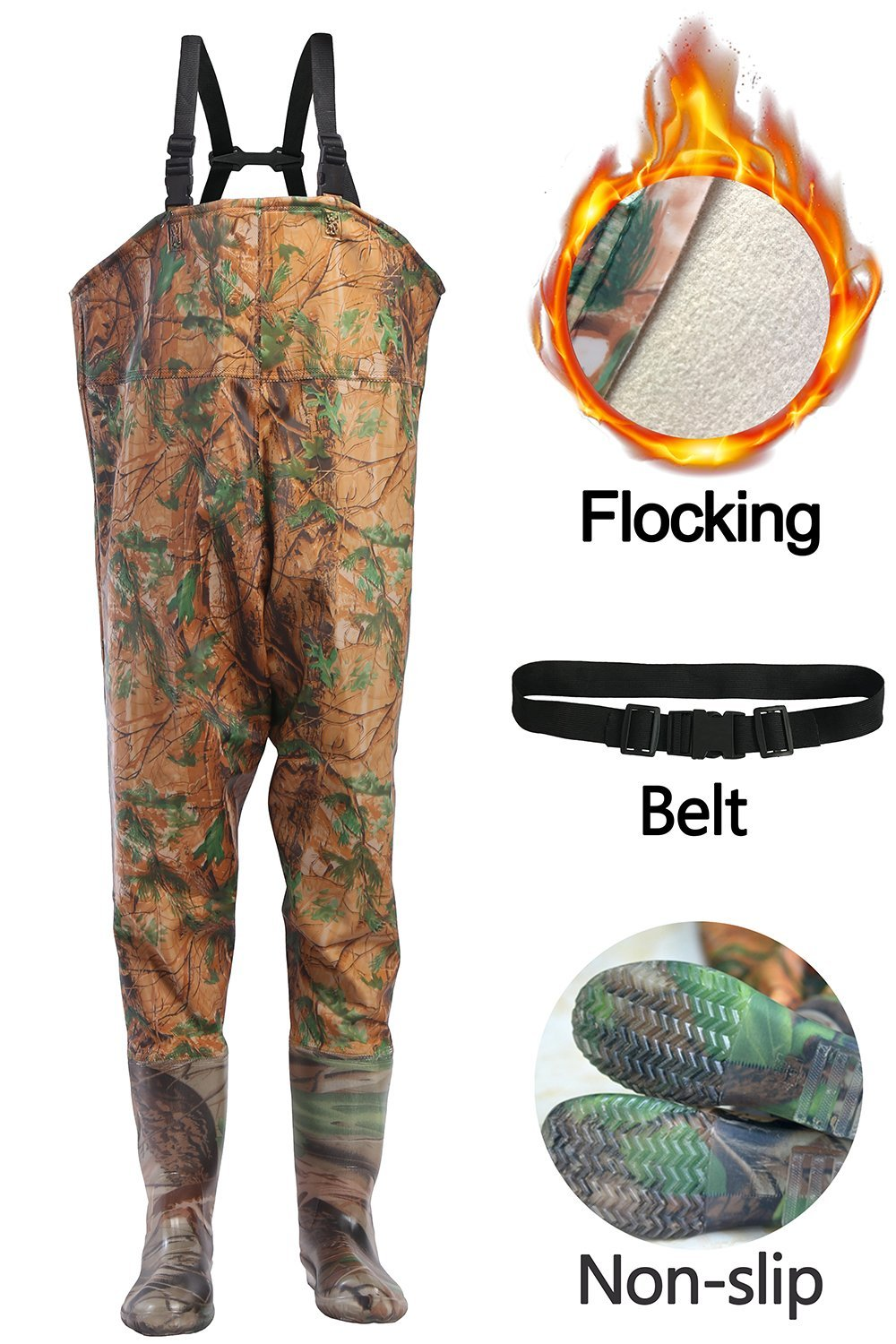 506169b822ee6 Get Quotations · Fishing Waders Chest Waders Mens Women Waterproof Bootfoot Hunting  Fishing Boot With Soft Lining Green&Camo