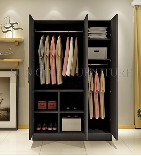 Modern Bedroom 3 Door Bedroom Wooden Wardrobe Closet Design (SZ WDT001)