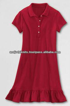 100 Cotton Girls Ruffle Bottom Polo Dress Buy Baby Girl Polo