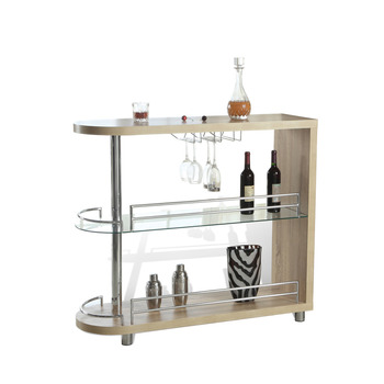 Beau Wooden Home Bar Corner Mini Bar Table With Glass Shelves And Metal Glasses  Holder