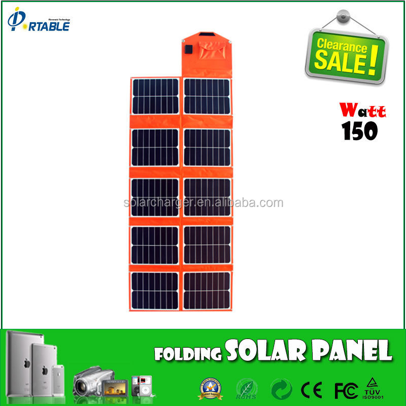 150W dual output sunpower panel solar cell for car battery and smart phones
