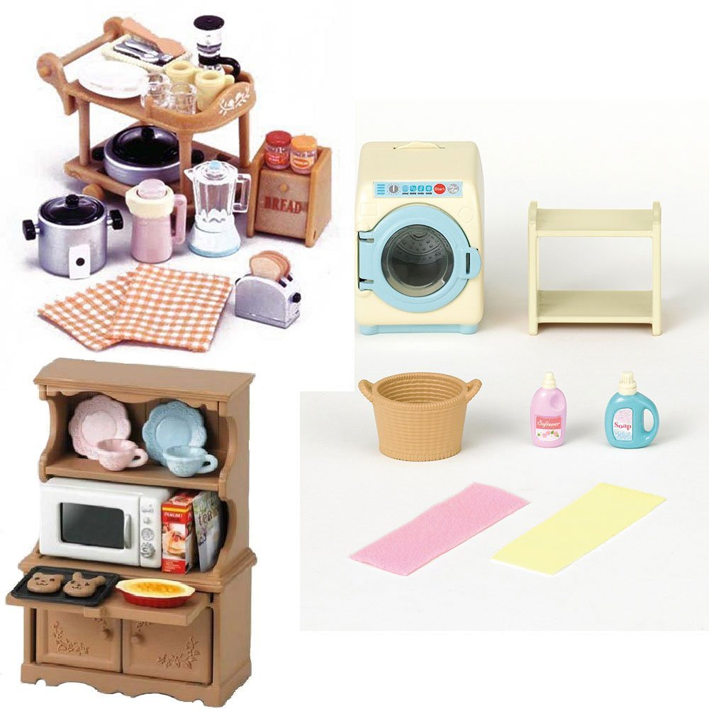 3 Sylvanian Families Sets – Microwave Cabinet, Kitchen Appliances and Washing Machine
