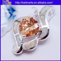 Cheap 925 Sterling Silver Pendant Necklace Fire Opal And Yellow Topaz Pendant Wholesale