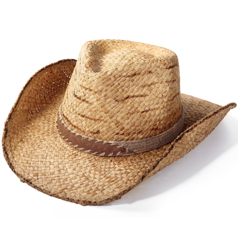f9b0080d Deevoov Lightweight Raffia Straw Cowboy Sun Hats Toyo Curl Fedora Gambler  Hats
