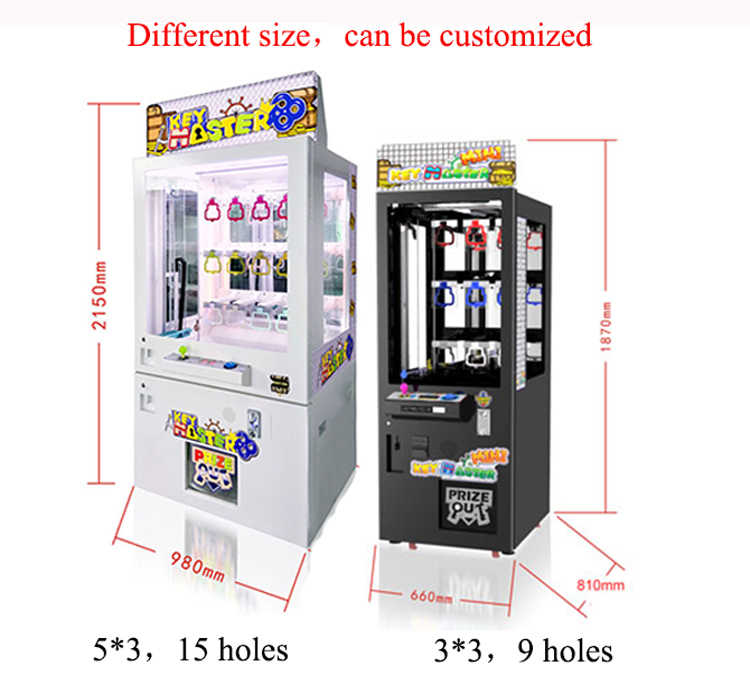 Popular claw crane golden key coin operated games key master game machine