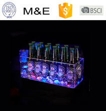 M&E Square Wine Cooler Clear Led Acrylic Ice Bucket For Bar KTV Wholesale