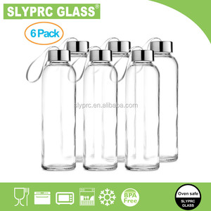 18 oz Glass Water Bottle 6 Pack for Juicing or Beverage Storage - Set of 6 Clear Reusable Bottles Stainless Steel Caps