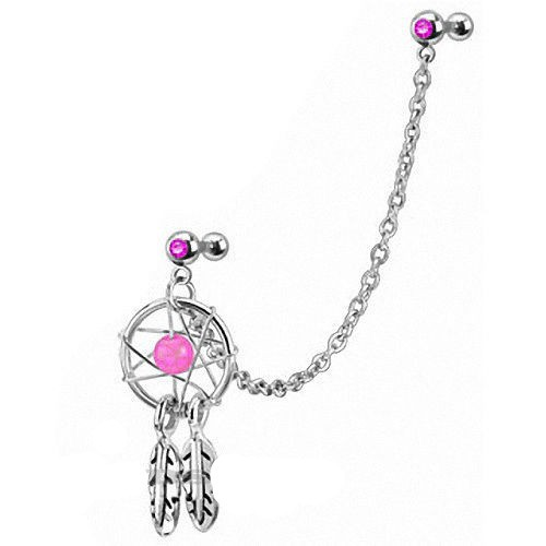 PINK Dream Catcher Ear Piercing Cartilage Helix Tragus Earring