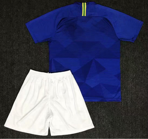 Customized 2018 Brasil Blue Soccer Jersey and Shorts