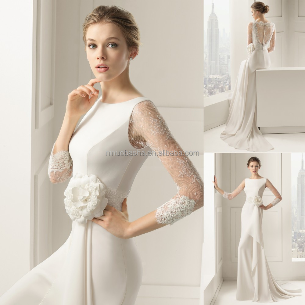 2015 New Collection Sheath Wedding Dress Jewel Neck Sheer Lace - Covered Back Wedding Dress