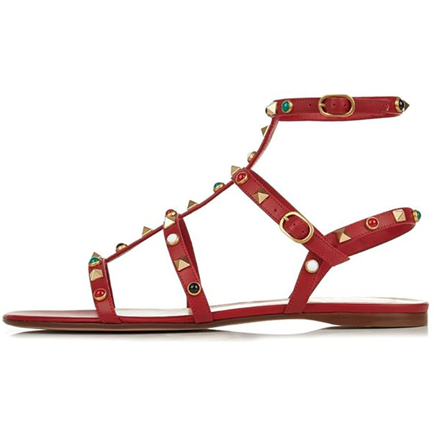 VOCOSI Women's Flats Sandals,Rivets Studs Ankle Strap Strappy Summer Sandals Shoes