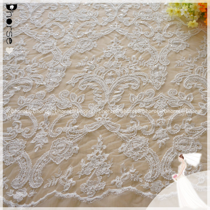 Newest design allover lots beads beaded voile lace/ lace fabric with beads/ swiss voile lace embroidery