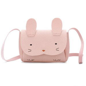 Zogift Korean cartoon bunny pu leather princess mini pocket hand cute baby sling crossbody shoulder bag