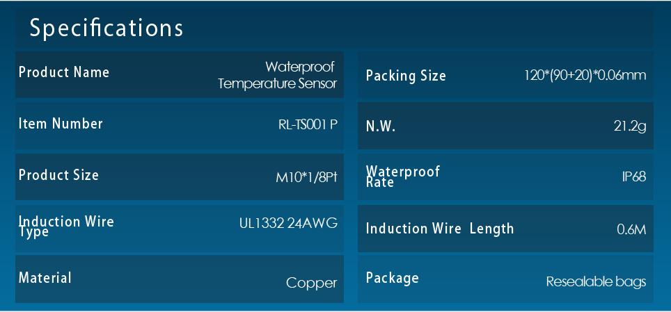 Runleader RL-TS001 Waterproof M10 NTC or PT100 Platinum Resister Temperature Sensor or NTC TEMP sensor Temp for lawn mower motorcycle tractor PT100 -20- +300