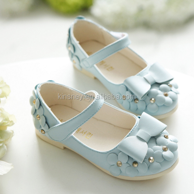 KS30249A spring autumn girls princess bowknot applique shoes kids flat dress shoes children fashion PU leather shoes