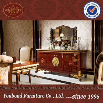 0063 classique salle à manger meubles buffet tableau et miroir de luxe en bois salle à