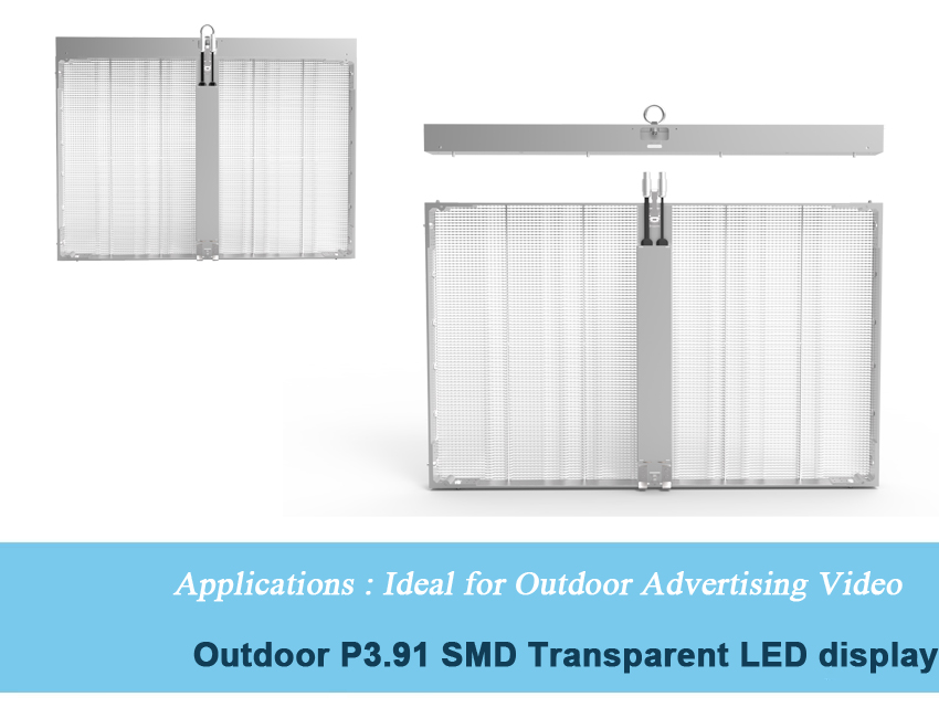 Outdoor/Indoor Full Color curtain p3.91 7.81 P10.416 transparent glassy led video display screen