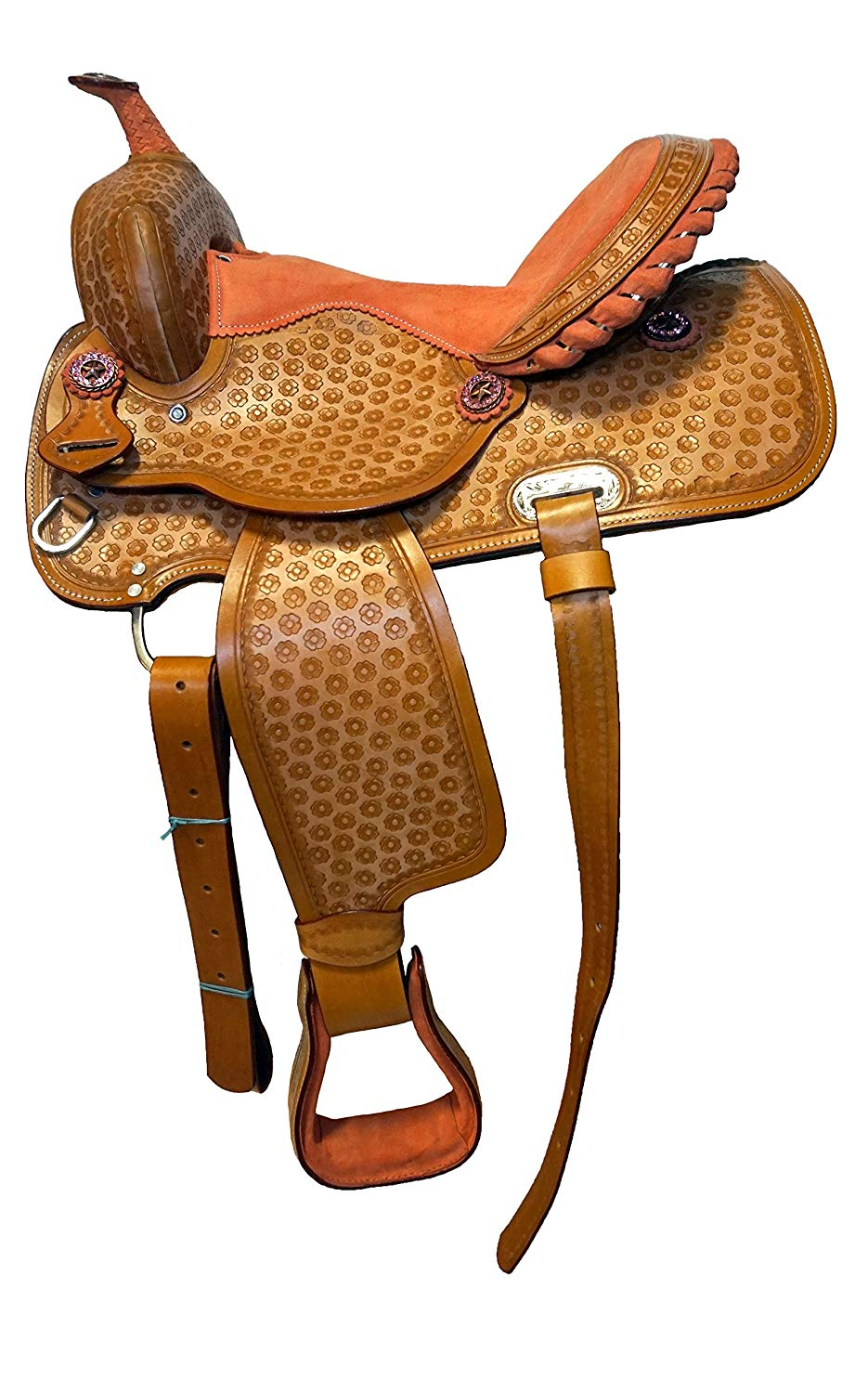 "Equitem 15.5"" Light Floral Tooled Leather Saddle with Peach Orange Suede Seat"
