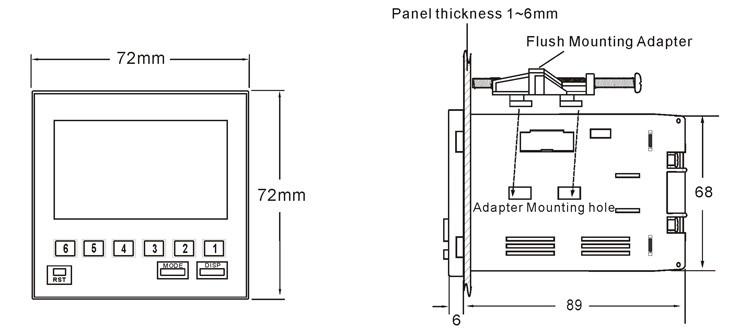 tmc7bx h7bx tmcon 6 chiffres 72 72mm  u00c9cran lcd compteur