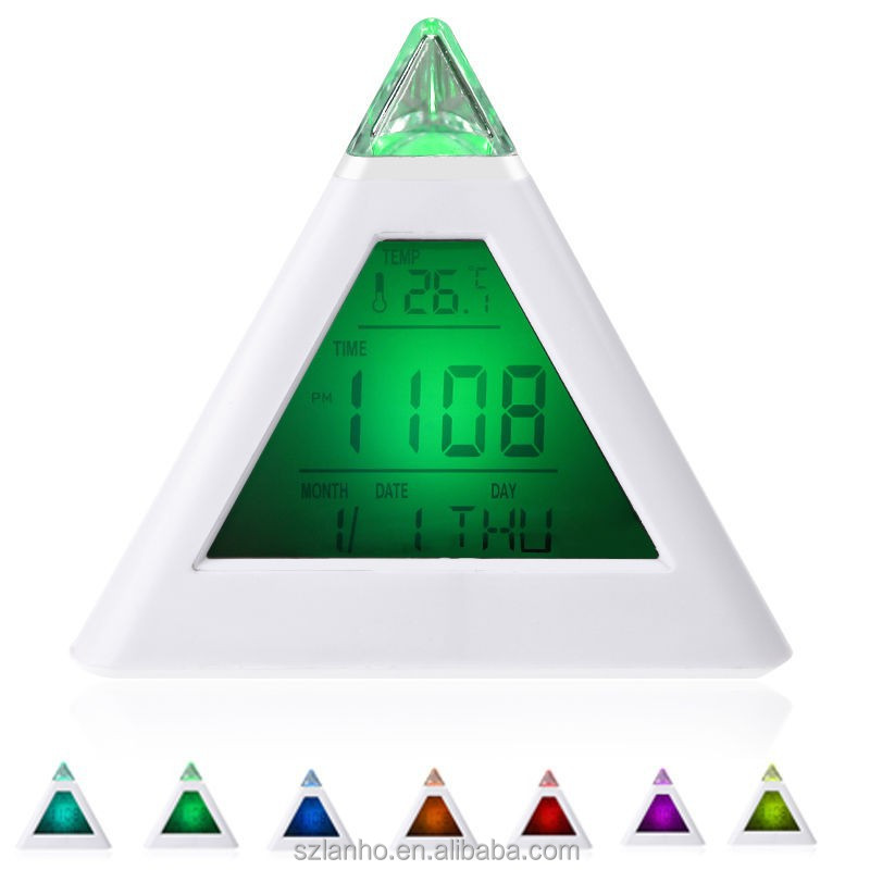 New 2017 LCD Pyramid Triangle Alarm Clock Multi Color Night Light 7 Color Changing