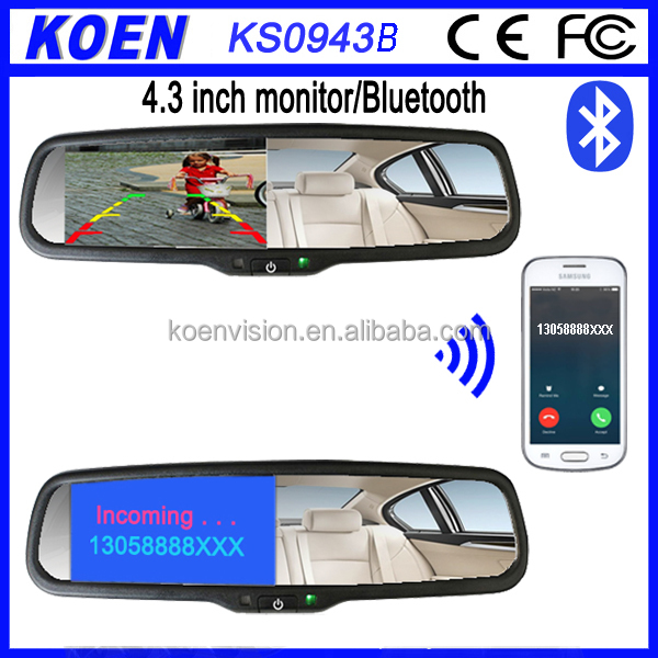 FM Transmitter 4.3 Inch Bluetooth Rearview Mirror Handsfree Car Kit