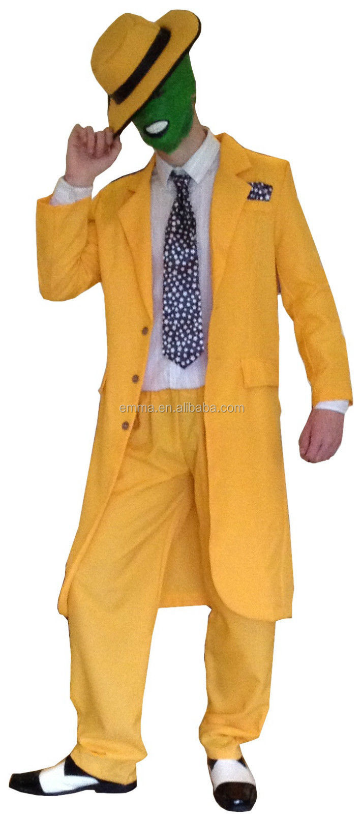 90 s FANTAISIE ROBE JAUNE HOMME GANGSTER ZOOT COSTUME LE MASQUE JIM CARREY COSTUME BM493
