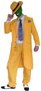 90s FANCY DRESS MENS YELLOW GANGSTER ZOOT SUIT THE MASK JIM CARREY COSTUME BM493