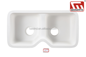 Monerte solid surface sink,small double bowl artificial marble ...
