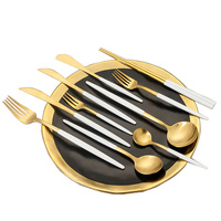 k5485 wholesale black colored handle gold stainless steel cutlery